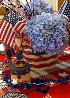 Red, white and blue table decorations for 4Th Of July Celebration. USA Flags, Blue Hydrangeas, Uncle Sam