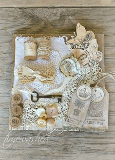 Creamy White Inspiration Kit with Vintage Lace, Buttons, Wooden Spools, Game Pieces and Shabby Chic Crafts, Vintage Crafts, Decoupage, Antique Lace, Vintage Lace, Sewing Projects, Projects To Try, Deco Retro, Vintage Sewing Notions