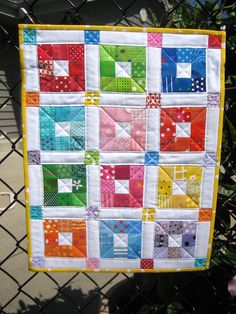 Angel Quilt #4 Scrappy Quilts, Mini Quilts, Small Quilts, Easy Quilts, Rainbow Quilt, Square Quilt, Quilt Blocks, Nine Patch Quilt, Quilt Patterns