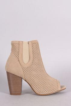4f09535d3e3 Perforated Peep Toe Chunky Heel Bootie Thigh High Boots