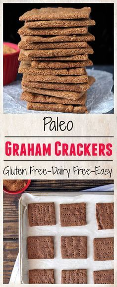 Paleo Graham Crackers- easy to make, lightly sweetened, and so delicious! A gluten free, dairy free version of the classic that you will love!