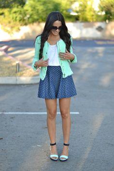 Jacket: Zara (Similar bright tweed here & here )   Top: Thrifted   Sandals: H&M   Polka Dot Skirt: Target Girls' Section   (more af...