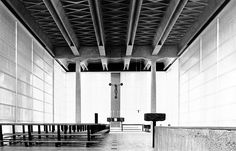 His designs attest to immense creative powers and are as unusual as is he: Angelo Mangiarotti. Tectonic Architecture, Public Architecture, Sacred Architecture, Architecture Visualization, Interior Architecture, Modern Church, Mid-century Interior, Church Design, Brutalist