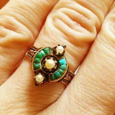 Викторианский семян жемчуг кольцо-антикварная роза Золотое кольцо-обручальное кольцо-бирюза-твердый | eBay