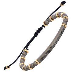 Stylish & Chic Flexible Bracelet combining Titanium, Gold and Black Diamonds 1