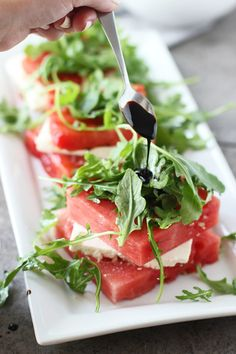 Grilled Watermelon and Feta Stacked Salads