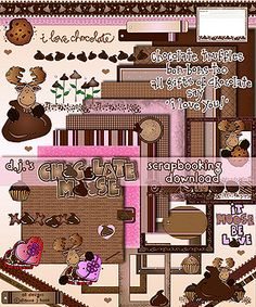 Our 'Chocolate Moose' scrapbooking download is irresistibly SWEET! Perfect for chocolate lovers everywhere... you can sweeten-up your love letters, chocolate recipes, anniversary & dating albums, Valentine greetings & MORE!   Go to product: http://www.djinkers.com/chocolatemoose.html