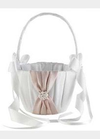 """The Splendor Collection Flower Girl Basket features rouched satin in exclusive David's Bridal colors and is adorned with a jeweled flower cluster. Available in white or ivory. Measures 10"""" by 5.0"""". Weighs 8 ounces. Note: Sale colors are as shown.Click here for more Splendor color optionsA smooth fabric often used in bridal gown design because of its exquisite drape."""