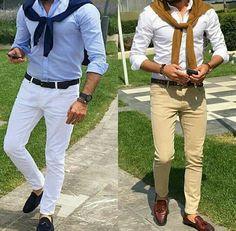 Smart casual outfit for special men (beige pants, brown shoes & belt, white shirt) (white pants, blublack belt& shoes, blue shirt)