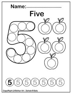 Number five 5 dot marker coloring page activity Apple counting activity Print th. Learning Numbers Preschool, Preschool Learning Activities, Free Preschool, Preschool Colors, Preschool Worksheets, Teaching Resources, Kindergarten Coloring Pages, Abc Coloring Pages, Free Coloring