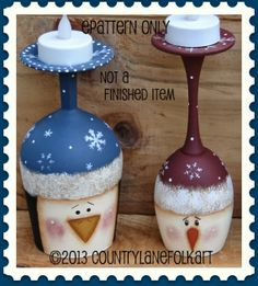 The Decorative Painting Store: Snowman and Penguin Wine Glass Candle Holders Pattern by Becky Levesque(Bottle Painting Patterns) Wine Glass Crafts, Wine Craft, Wine Bottle Crafts, Wine Bottles, Christmas Wine Glasses, Halloween Wine Glasses, Wine Glass Candle Holder, Tole Painting Patterns, Navidad Diy