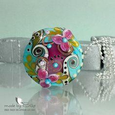 Handmade lentil bead focal -- SRA -- glass lampwork -- N i n a ' s  S e c r e t  G a r d e n  -- made by Silke Buechler -- SRA