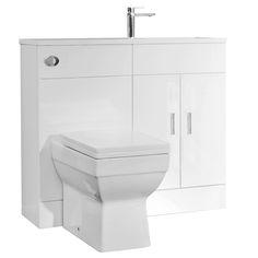 Slimline Combination Basin & WC Unit - White Gloss - x - shower room White Vanity Unit, Basin Vanity Unit, Basin Unit, Vanity Units, Concealed Cistern, Space Saving, Small Bathroom, Cupboard, Shelving