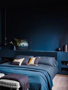Dark and mood master bedroom. #darkbluewalls #darkwalls Warm Bedroom, Bedroom Night, Bedroom Green, Home Bedroom, Bedroom Ideas, Master Bedroom, Royal Blue Bedrooms, Dark Blue Rooms, Best Bedroom Paint Colors