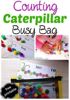 This busy bag features counting as the main goal with number recognition as well as word reinforcement. The secondary objective is color matching. Fine motor toddler activity.