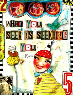 Day 73 Seek by Nancy Baumiller ©2016 All Rights Reserved - 365 Days of Spirit Art Journaling for Artists project  Creds:  Funky Peeps & Papers: http://www.mischiefcircus.com/shop/product.php?productid=20056&cat=0&page=1  A New Alpha: http://www.mischiefcircus.com/shop/product.php?productid=19169&cat=0&page=1