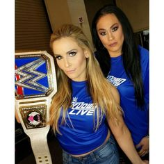 Tamina with SD Woman Champion Natalya Tamina Snuka, Wwe Belts, Nia Jax, Wwe Roman Reigns, Wwe Female Wrestlers, Charlotte Flair, Wwe Womens, Women's Wrestling, Comics Girls