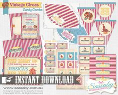 DIY Vintage Circus Party Collection  INSTANT DOWNLOAD  by Sassaby, $34.95