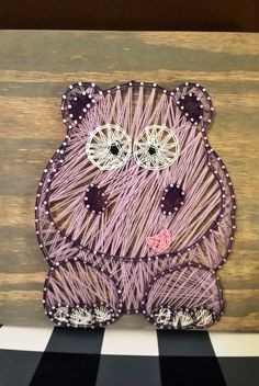 Happy Hippo String Art by RubyOwlDesigns on Etsy $40 and you can customize it. #stringart #Hippo #Customize