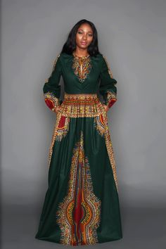 THE ZHARA Dashiki Maxi Dress in Forest Green. A regal update of our ever popular Zhara Dashiki Dress. An Elegant, cultural and figure flattering forest green maxi dashiki dress. African Fashion Ankara, Ghanaian Fashion, African Inspired Fashion, African Print Fashion, Africa Fashion, Nigerian Fashion, African Print Clothing, African Print Dresses, African Dress