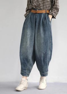 Classy cotton troues Fashion Women Spring Vintage Solid Loose Turnip Pants JeansCustom make service available! Loose Pants, Wide Leg Pants, Fashion Pants, Fashion Outfits, Womens Fashion, Fashion Edgy, Fashion 2018, Ladies Fashion, Fashion Online