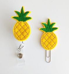 Pineapple Feltie Paperclip | Badge Reel | ID Badge | Felt Badge | Badge Holder | Lanyard | Planner Clip | Planner Accessory | Felt Pineapple