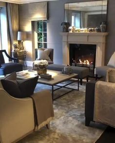 Living Room Decor Cozy, Elegant Living Room, Living Room With Fireplace, Formal Living Rooms, Modern Living, Cosy Grey Living Room, Dark Wood Furniture Living Room, Decorating Ideas For The Home Living Room, Traditional Living Room Furniture