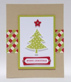 Merry Christmas Tree With Green Red Patterned Paper Handcrafted Card | cardsbylibe - Cards on ArtFire