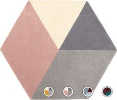 Hagen Large Hexagon Wool Rug 150 x 180cm, Pink and Grey from Made.com. Grey/Pink. NEW Introducing Hagen, a super-sleek hexagonal rug in sophisticate..