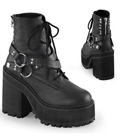 "Demonia Assault Strap Ankle Boots. 4 3/4""(12cm) Block Heel, 2 1/4""(5.75cm) Cleated Platform Lace-Up Front Ankle Boot Featuring Wrap Around Snap-On Strap w/Double D-Rings at Outer Side, Half Studded Ba"