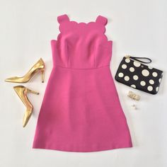 Scallop dress, gold pumps, polka dot clutch and bow bracelet, pearl studs - great outfit ideas here: http://www.stylishpetite.com/search/label/Outfit%20Layouts