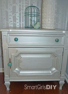Side Table Redo - Martha Stewart Living 1-gal. Silver Semi-Gloss Precious Metals Specialty Finish.