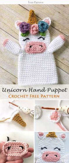 Unicorn Hand Puppet Crochet Free Pattern #freecrochetpatterns