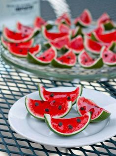 Vodka Watermelon Shots   ingredients: 10 limes, pulp removed 1 box red Jello (I used strawberry because my grocery store didn't carry watermelon flavored, but obviously if yours has watermelon – grab it!)