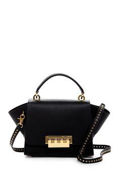 Classic Black ZAC Zac Posen Eartha Top Handle Leather Crossbody