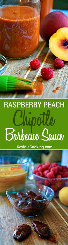 Finger licking good Raspberry Peach Chipotle BBQ Sauce with just enough heat and tangy fruit flavor to keep you reaching back for more. Sauce Recipes, Real Food Recipes, Cooking Recipes, Yummy Food, Syrup Recipes, Meal Recipes, Cooking Tips, Barbecue Sauce, Bbq Sauces