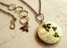 Bee Locket necklace Personalized Mother's day New mom Honeycomb Mom child 1,2,3,4,5,6 bees US DELIVERY by Mother's Day not guaranteed on Etsy, $34.80