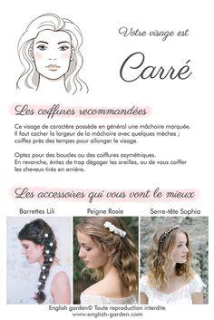Conseils astuces coiffure Visage carré   #wedding #hair #bride #mariée #coiffure