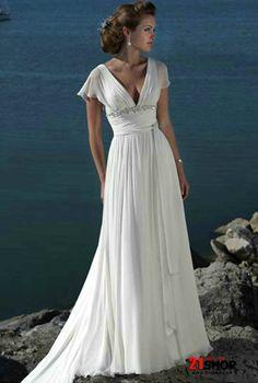 Urban Refined Seductive V-neck Empire Waist Beach Wedding Dress With Short Chiffon Sleeves Accessories