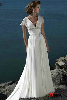 Urban Refined Seductive V-neck Empire Waist Beach Wedding Dress With Short Chiffon Sleeves Accessories
