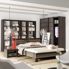 Das Schlafzimmer mit der Bibliothek. Eine gute Idee!  #schlafzimmer #mirjan24