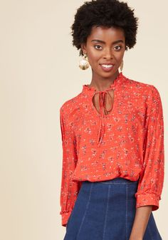 Rustic Radiance Top in Floral. If pastoral style makes you smile, then this red blouse from our ModCloth namesake label is guaranteed to make you beam! #red #modcloth