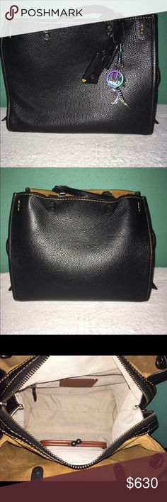 Coach 1941 Rogue in Pebbled Leather Black Pre-loved Coach Rogue, Anodized T-Rex included. Used this beautiful purse about 3 times and then I stored it away. It is very elegant handbag for any type of occasion. If you have any questions please ask 😊. Coach Bags Satchels