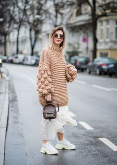 Chunky sweater and white skirt