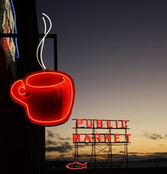 Public Market Coffee neon sign    Pike Place, Seattle via flickr