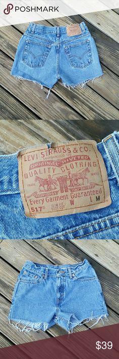 """VINTAGE LEVI'S 517 CUT OFF JEAN SHORTS Vintage LEVI'S 517 CUT OFF JEAN SHORTS. 100% cotton.  25"""" waist.  10"""" rise.  2.5"""" inseam.  (#529) Levi's Shorts Jean Shorts"""