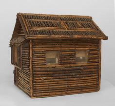 Early 20th c. American Rustic Miniature Log Cabin | From a unique collection of antique and modern sculptures at https://www.1stdibs.com/furniture/decorative-objects/sculptures/