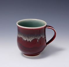 Wheel-thrown Porcelain Mug with Red and Gold Glaze by Hsinchuen Lin 林新春