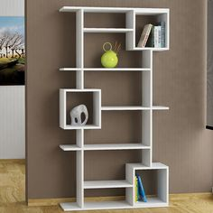 Symple Stuff This bookcase would make a fabulous addition to any contemporary interior. Featuring various compartments and optional shelving space, it is perfect for displaying your favourite books and ornaments. Bookcase Shelves, Wood Shelves, Shelving, Contemporary Interior, Contemporary Style, Affordable Furniture, Household Items, Office Furniture, Home Decor