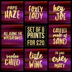 "Set of 8 - Jimi Hendrix Song Title Prints - Square 8x8"" Each - Quote Rock Pop Music Lyric Typography - Poster Wall Art Gift Feature Decor #jimihendrix #guitarlegend  #purplehaze #voodoo #poster #foxeylady #heyjoe #allalongthewatchtower #castlesmadeofsand #voodoochild #littlewing #thewindcriesmary #poster #weed"